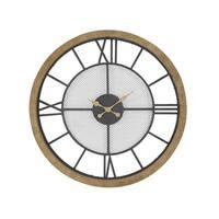 Contemporary Wood and Iron Analog Wall Clock