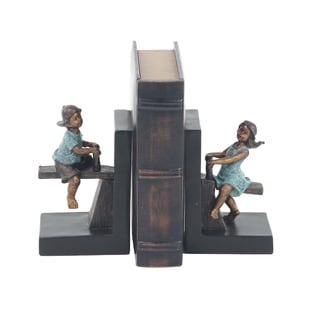 Pair of Modern Polystone Playing Boy and Girl Bookends