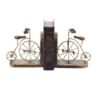 Pair of Rustic Mango Wood and Iron Bicycle Bookends