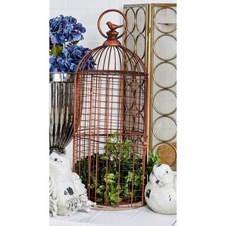 Traditional Iron and Wood Bronze-Finished Birdcage