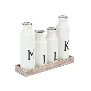 Studio 350 Farmhouse White Iron Milk Bottles on Brown Wooden Tray