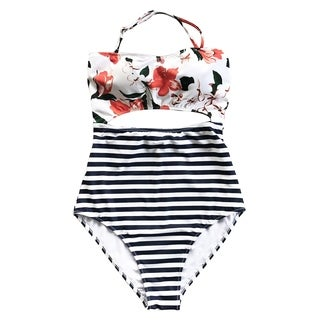 Cupshe Women's Lilies Stripe Printing Halter Padded One Piece Swimsuit with Cutout