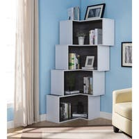 Furniture of America Pirra Contemporary Tiered Corner Display/Bookcase