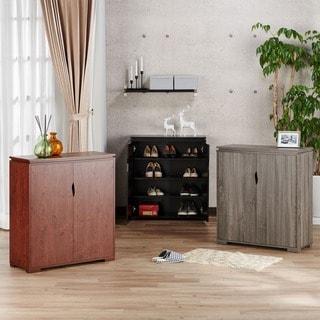 Furniture of America Tabbi Contemporary 2-door 4-shelf Shoe Cabinet