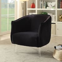 Furniture of America Natalya Contemporary Rounded Flannelette Barrel Chair