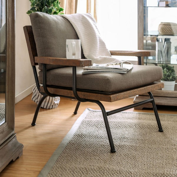 Shop Copenhagen Industrial Taupe Upholstered Accent Chair By Foa