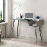 Furniture of America Minjo Modern 44-inch Glass Top Writing Desk with Shelf