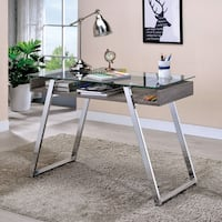 Furniture of America Amitha Contemporary Glass/Metal 43-inch Open Glass Top Writing Desk