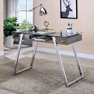 Furniture Of America Amitha Contemporary Glass Metal 43 Inch Open Top Writing Desk