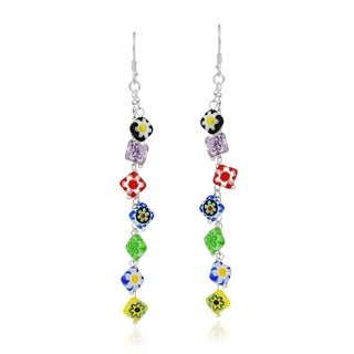 Handmade Multi-Colored Millefiori Glass Beads Sterling Silver Dangle Earrings (Thailand)