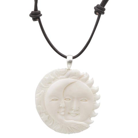 Handmade Bone Leather 'Stellar Guardians' Necklace (Indonesia) - Black