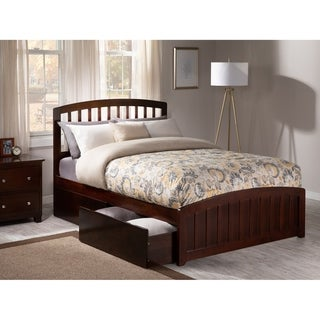 Richmond Full Platform Bed with Matching Foot Board with 2 Urban Bed Drawers in Walnut