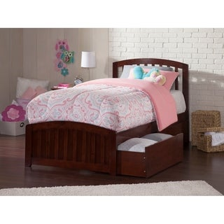 Richmond Twin Platform Bed with Matching Foot Board with 2 Urban Bed Drawers in Walnut