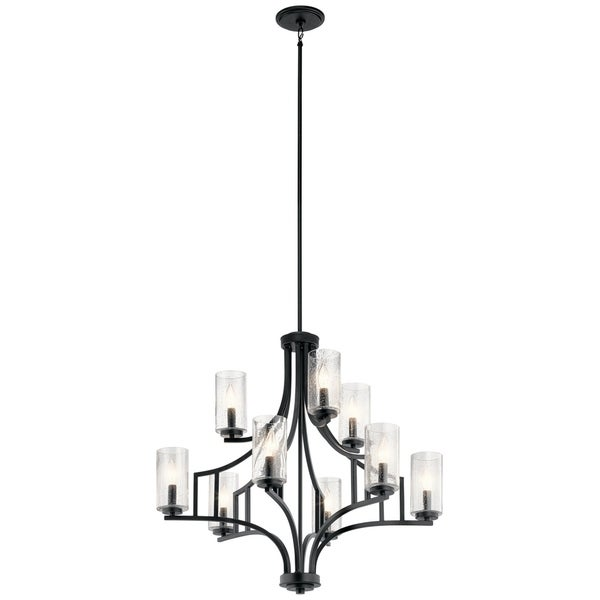 Kichler Lighting Vara Collection Distressed Black Steel 9-light Chandelier with Clear Glass Shades