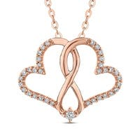 10K Rose Gold 1/10ct TDW Diamond Double Heart Pendant (J-K, I1-I2)