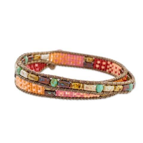 Handmade Glass Beaded 'Xocomil Energy' Aventurine Bracelet (Guatemala)