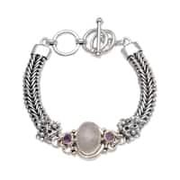 Handmade Sterling Silver 'Jepun Glow' Rainbow Moonstone Amethyst Bracelet (Indonesia)