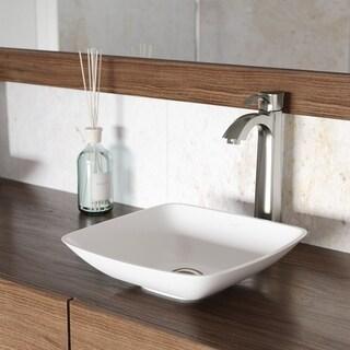 VIGO Hyacinth Matte Stone Vessel Bathroom Sink Set With Otis Brushed Nickel Vessel Faucet