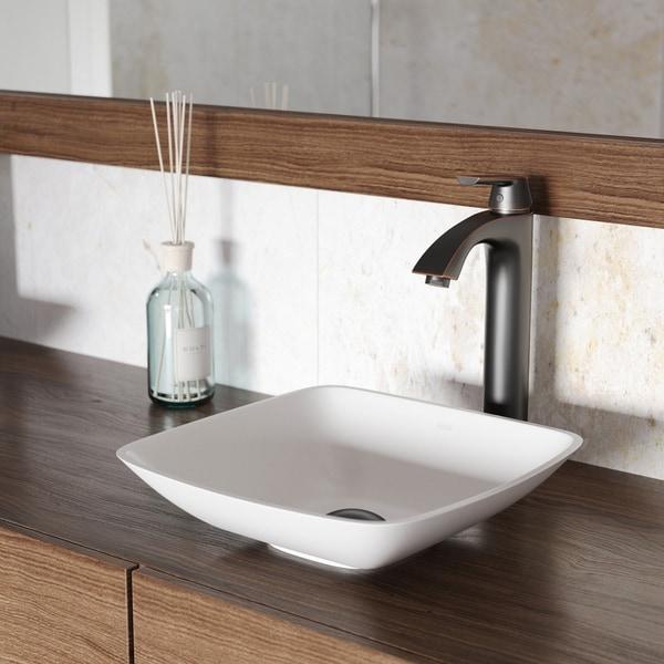 VIGO Hyacinth Matte Stone Vessel Bathroom Sink and Linus Faucet Set
