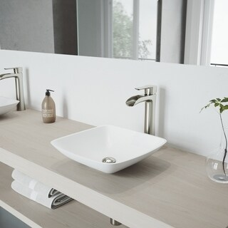 VIGO Hyacinth Matte Stone Vessel Bathroom Sink and Niko Faucet Set