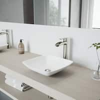 VIGO Hyacinth Matte Stone Vessel Bathroom Sink Set With Niko Brushed Nickel Vessel Faucet