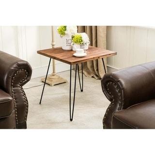 Leonardo Mid Century Folding Wood and Metal End Table