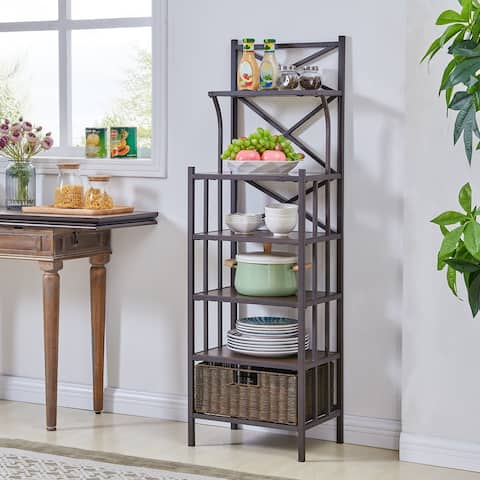 Peekskill Rustic Brown w/ Distressed Pine Bakers Rack