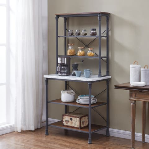Carbon Loft Ivan Rustic Gray with Distressed Pine Bakers Rack