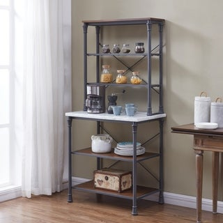 Harper Blvd Penderton Rustic Gray w/ Distressed Pine Bakers Rack