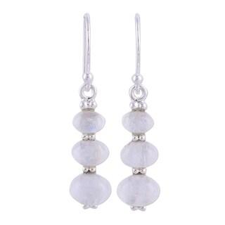 Handmade Sterling Silver 'Natural Ellipses' Rainbow Moonstone Earrings (India)