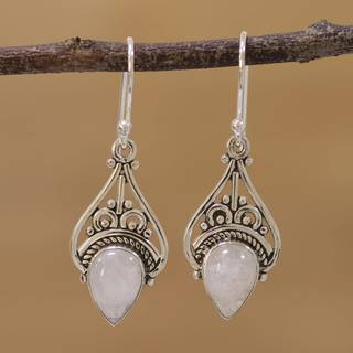 Handmade Sterling Silver 'Crowned Drops' Rainbow Moonstone Earrings (India)