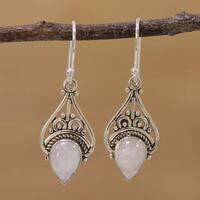 Handmade Sterling Silver 'Crowned Drops' Rainbow Moonstone Earrings (India)