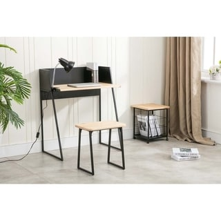 Clearance. Aero Industrial Wood And Metal Desk Set