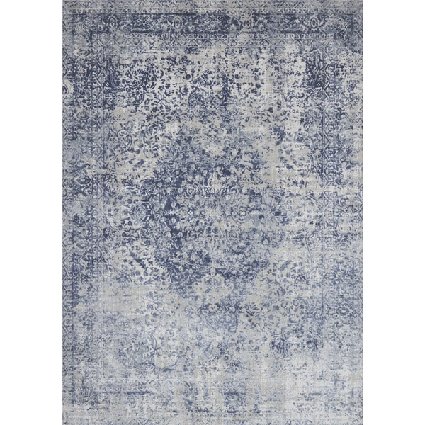 Shop Distressed Transitional Blue Grey Floral Vintage Rug