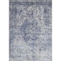 Distressed Transitional Blue/ Grey Floral Vintage Rug - 2'7 x 4'