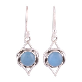 Link to Handmade Sterling Silver Intricate Twirl in Blue Chalcedony Earrings (India) Similar Items in Earrings