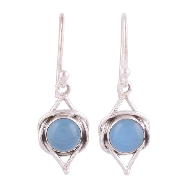 Handmade Sterling Silver Intricate Twirl in Blue Chalcedony Earrings (India). Opens flyout.