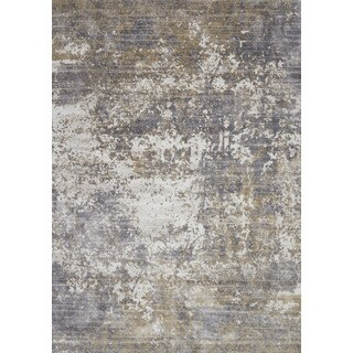 Distressed Abstract Grey/ Taupe Textured Vintage Rug (3'7 x 5'7)