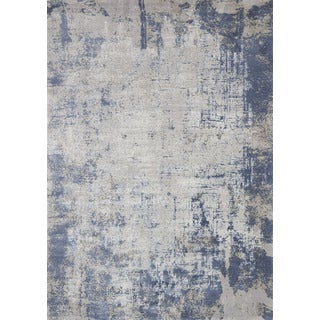 """Distressed Abstract Blue/ Grey Textured Vintage Rug (2'7 x 4') - 2'7"""" x 4'"""