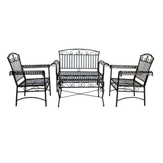 Laurel Creek Routt Black Steel French Quarter Outdoor 4-piece Dining Set