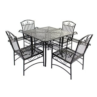 Laurel Creek Routt Black Steel French Quarter Outdoor 5-piece Dining Set