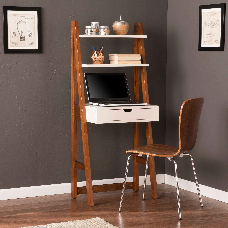 Harper Blvd Brooksdale White w/ Oak Leaning Desk/ Bookcas...