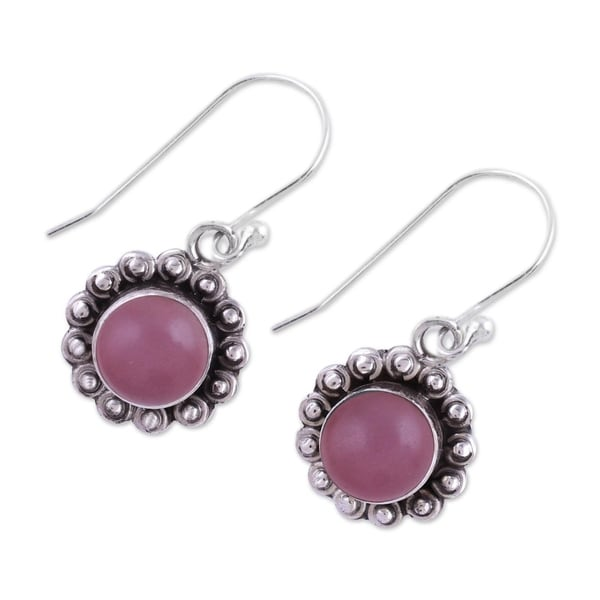 Handmade Sterling Silver 'Pink Appeal' Chalcedony Earrings (India). Opens flyout.