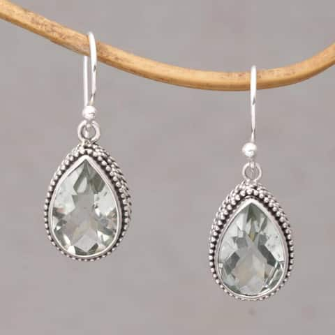 Handmade Sterling Silver 'Sparkling Spring' Prasiolite Earrings (Indonesia)