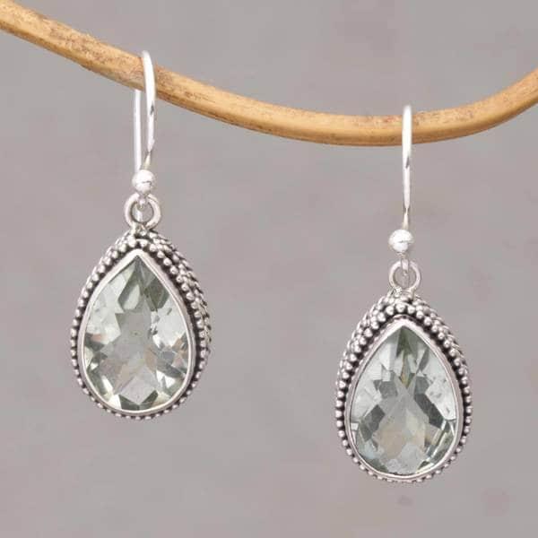 Handmade Sterling Silver X27 Sparkling Spring Prasiolite Earrings Indonesia