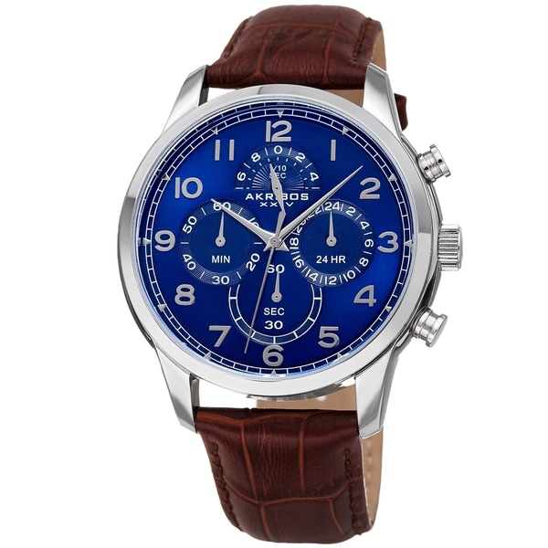 Akribos XXIV Men's Chronograph Classic Blue Brown Leather Strap Watch