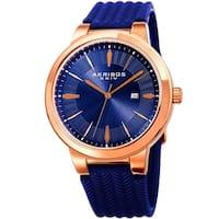 Akribos XXIV Men's Quartz Rose-Tone Blue Soft Silicone Strap Watch