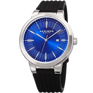 Akribos XXIV Men's Quartz Blue Black Soft Silicone Strap Watch