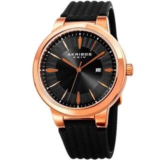 Akribos XXIV Men's Quartz Rose-Tone Black Soft Silicone Strap Watch