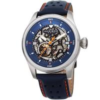 Akribos XXIV Men's Automatic Skeleton Perforated Blue Leather Strap Watch